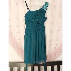 Teal Jeweled One Shoulder Dress